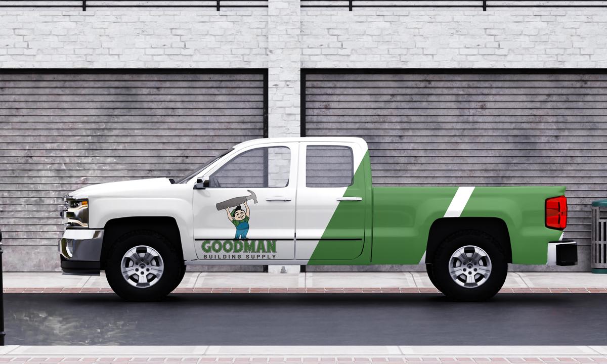 goodman-building-supply-vehicle-wrap-design-golden-shores-communications-brand-agency